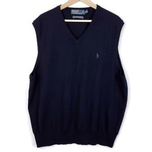 Polo Ralph Lauren Mens Merino Wool Vest Dark Navy
